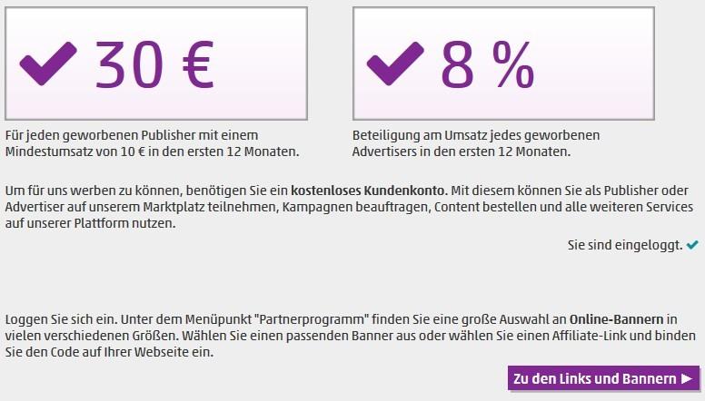 Mit SeedingUp 30,00 € pro Publisher verdienen oder 8 % Umsatzbeteiligung für Advertiser
