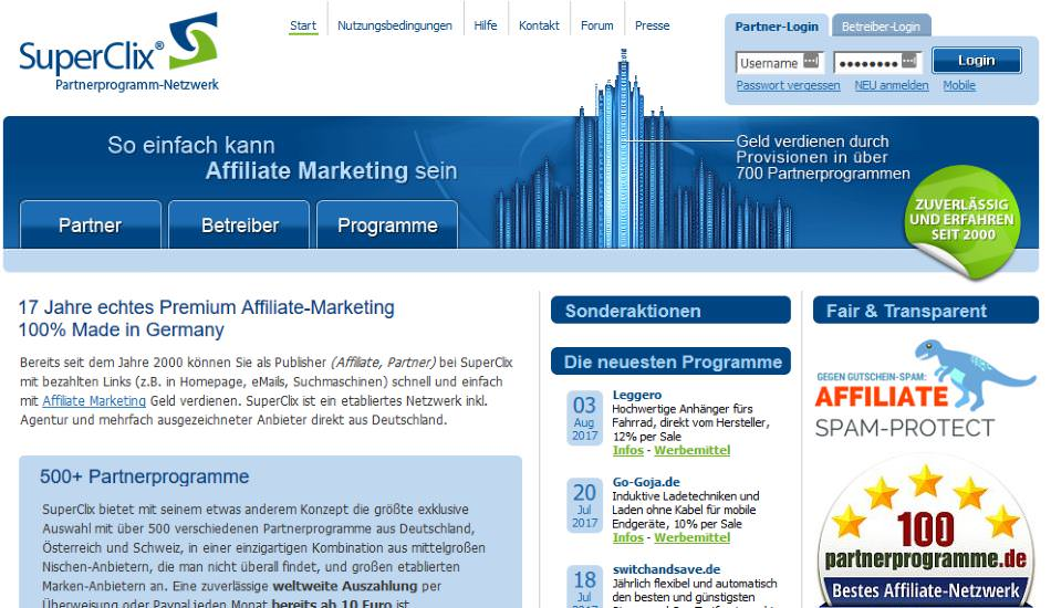 Affiliate-Marketing mit SuperClix