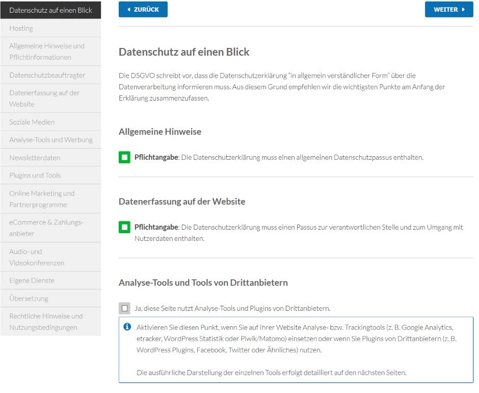 WordPress DGSVO Datenschutz-Generator