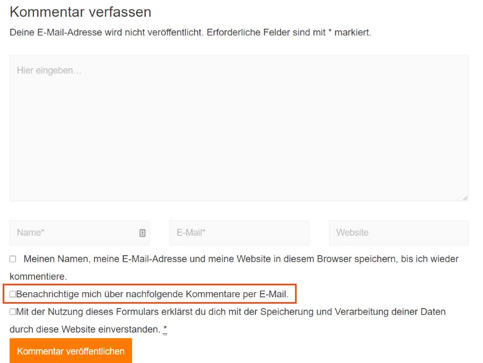 WordPress DGSVO Kommentare abonnieren