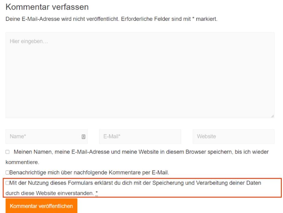 WordPress DSGVO Kommentare