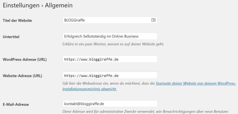 Allgemeine WordPress-Einstellungen im Backend