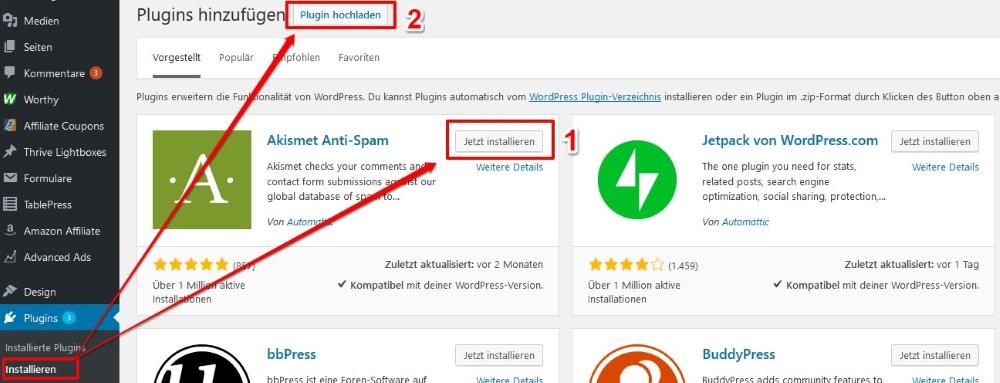 WordPress-Plugin: Plugin hochladen, installieren und aktivieren