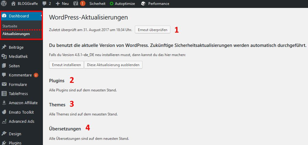 WordPress Update über das Dashboard